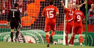 Дирк Кёйт празднует гол в ворота «Дебрецена» (c) Liverpool Echo