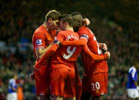 Игроки «Ливерпуля» празднуют гол Яго Аспаса в ворота «Олдхэма» (c) LiverpoolFC