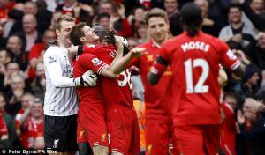 «Ливерпуль» празднует победу (c) Peter Byrne / PA Wire