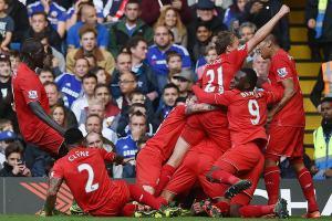 «Ливерпуль» празднует гол в ворота «Челси»