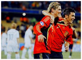 Фернандо Торрес и Давид Вилья в матче сборной Испании