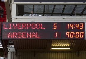 Фото счета матча между Ливерпулем и Арсеналом