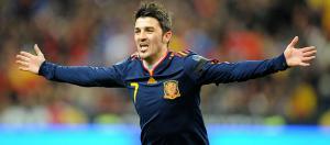 Давид Вилья в футболке сборной Испании