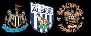 Логотипы «Ньюкасл Юнайтед», «Вест Бромвича», «Блэкпула»