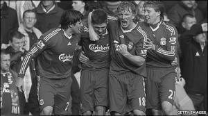 Игроки «Ливерпуля» празднуют забитый гол (c) Getty Images